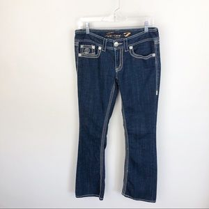 Seven 7 Bootcut Jeans Dark Wash Stitched Mid Rise